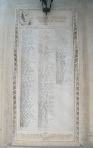 5.Έντοιχη πλάκα στην αυλή του Ι.Ν. Ευαγγελισμού προς τιμήν των πεσόντων Ελλήνων στο μέτωπο της Βορείου Αφρικής και της Μεσογείου κατά το Β' Παγκόσμιο Πόλεμο.